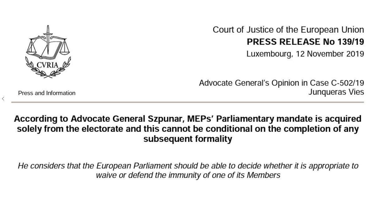 Catalogne : Oriol Junqueras a le droit à l'immunité parlementaire