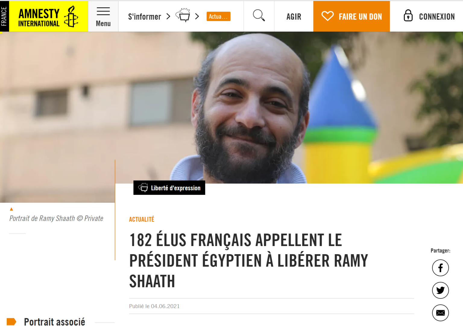 pétition 182 élus Ramy Shaath